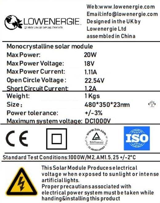 Mono 20w Solar Panel Kit 1 Low Energy Supermarket